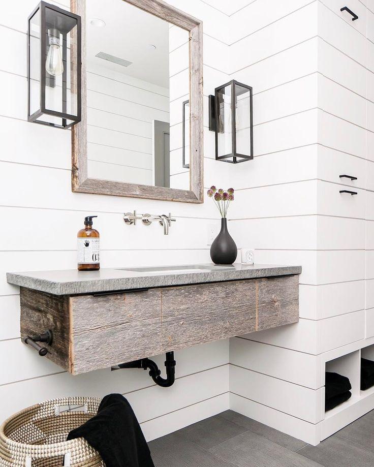 Rustic Bathroom With White Shiplap B A T H R O O M S In
