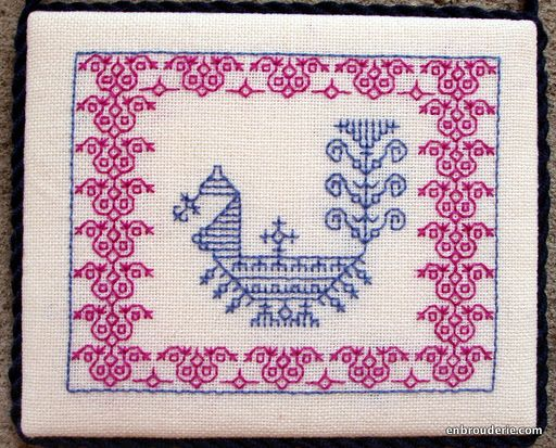 """kasuti embroidery / """"blackwork"""" peacock in blue with red border"""