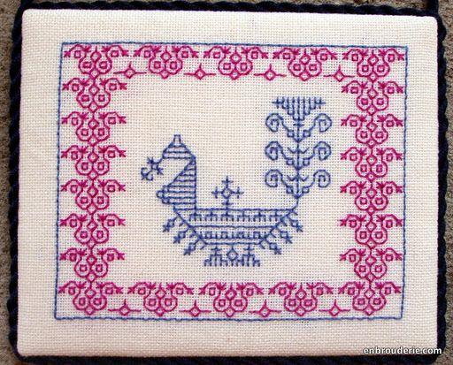 KASUTI embroidery of N. Karnataka. - a peacock