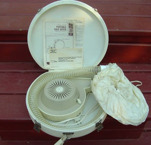 Vintage GE portable electric hair dryer. Huge cap that filled with warm air.