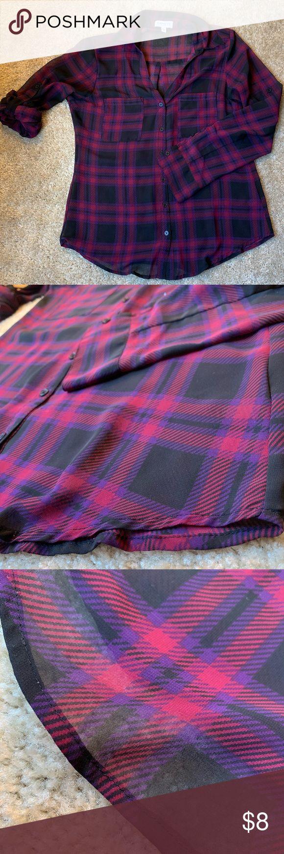 Express Portofino Shirt Blouse Sheer Portofino blouse from Express.  Plaid print…