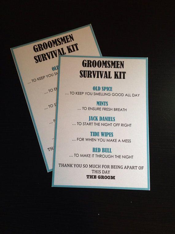 Groomsmen Survival Kit - 5x7 - Postcard - Hard Copy Set on Etsy, $1.00