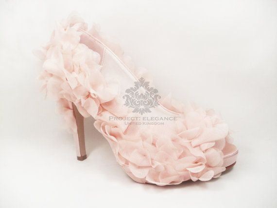 "Ria - Soft Pale Blush Pink Organza dramatic ruffle & satin shoes - Flat 1, 2, 3, 4, 5 or  6"" Inch Stiletto High Heel Shoes"