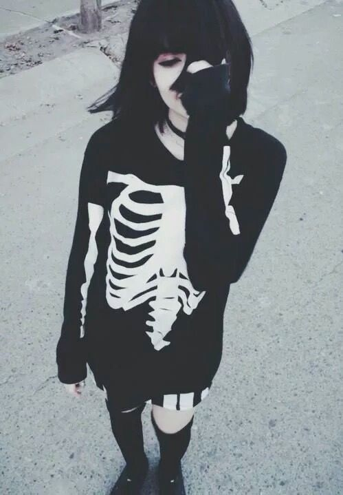 Black hair + skeleton sweater: