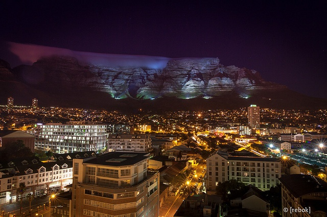 Table Mountain by night – Photo by Christoph Rebok #CapeTown #SouthAfrica