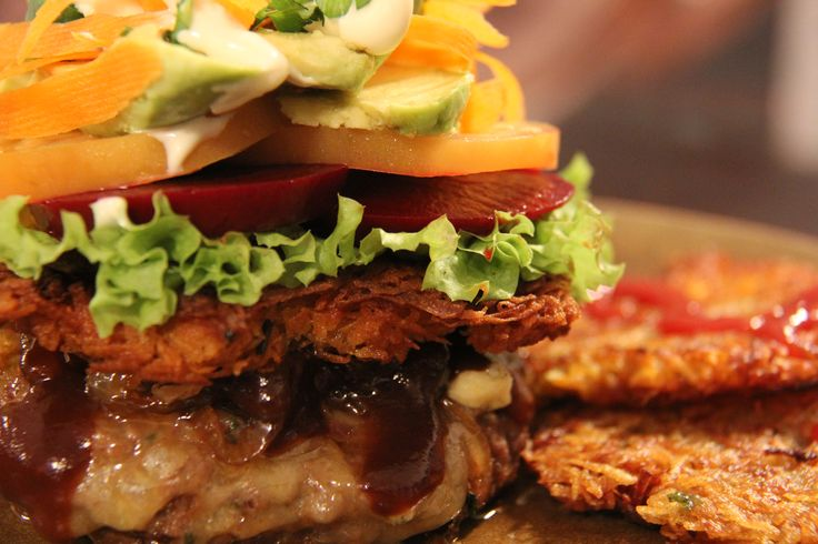 Carb-less Beef Burger with Hash Browns