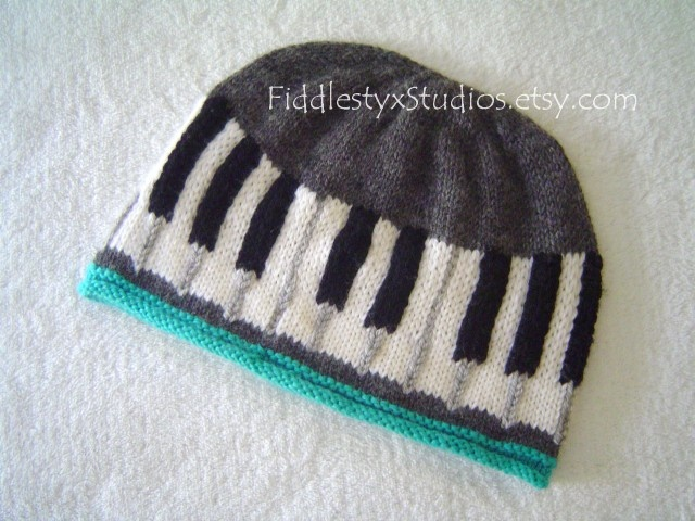 Baby Piano Hat Unisex Teen Music Beanie Ebony Ivory Piano Key Cotton Toddler Cap Hand Knitted Kids Children Clothing (custom sizes & colors). $60.00, via Etsy.