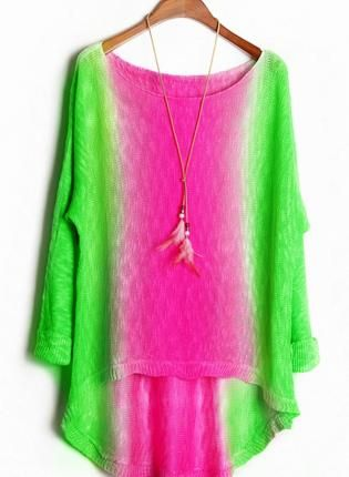 Sweet Color Block High-low Sweater, neon green&hot pink,  Sweater, sweet  long-sleeve  neon-green  hot-pink, Chic