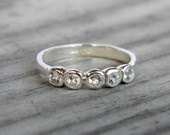 White Topaz  Five Stone Band Ring, Made To Order