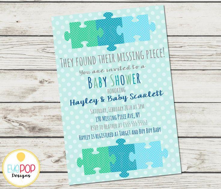 Missing Piece Invitation - Baby Shower - Boy - Adoption - Polka Dots - Puzzle Piece - Digital Printable by EyePop Designs