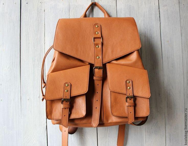 Купить Брутальный женский рюкзак из натуральной кожи - рыжий, однотонный, рюкзак, кожаный рюкзак