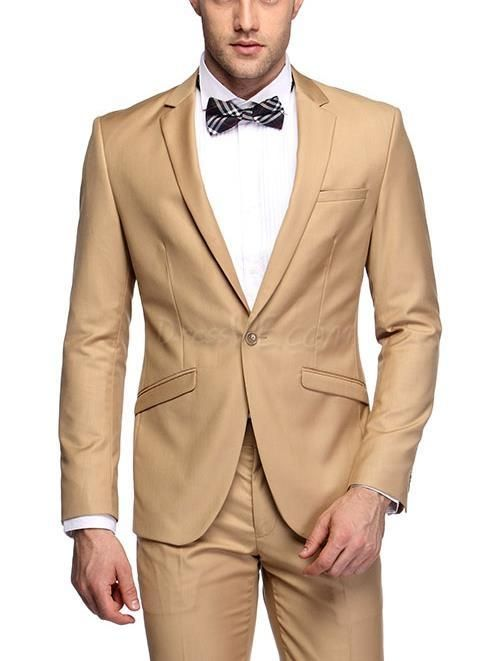 High Quality One Button Khaki Groom Tuxedos Groomsmen Mens Wedding Suits Prom Bridegroom (Jacket+Pants+Tie) NO:1068