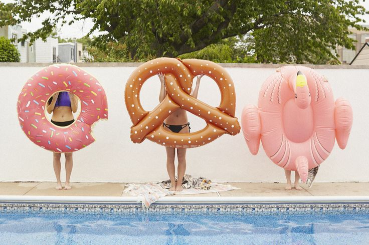 Donut, Pretzel and link flamingo pool floaties, how can you even choose one of theses this summer