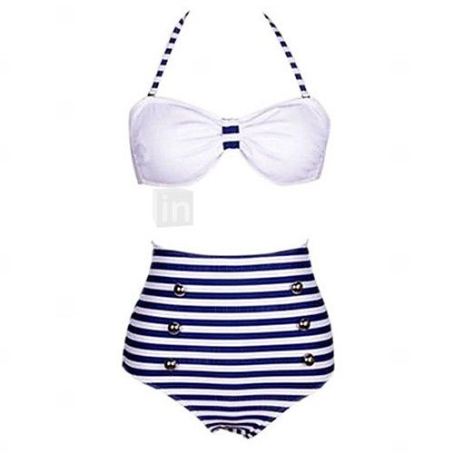 Women's Strips Print White/Navy Blue Bikini, Vintage Halter High Rise - USD $9.99