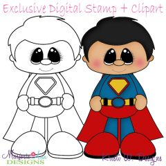Little Super Hero 6 Exclusive Digital Stamp + Clipart