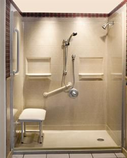 Roll In Shower With Grab Bar And Seat With Adjustable Shower Head