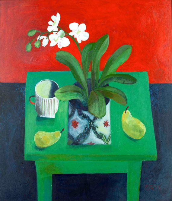Green Table by Este MacLeod,  42x59 cm print. Signed by EsteMacLeodDesigns