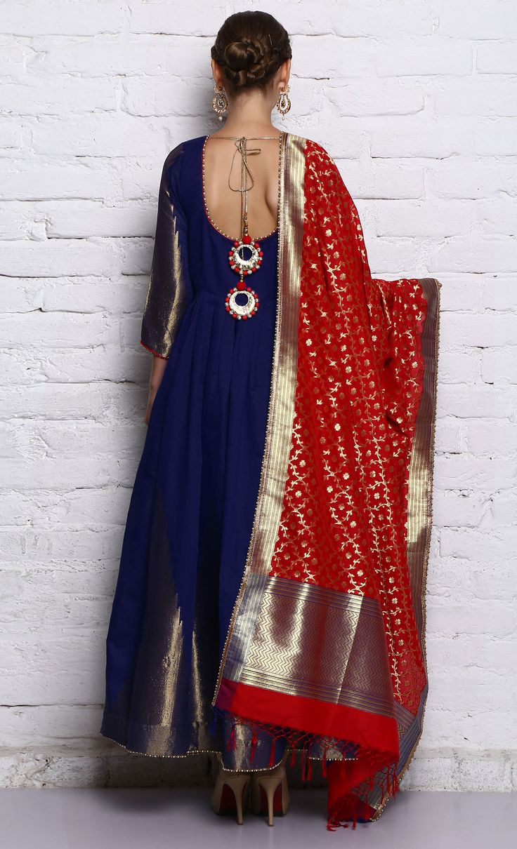Blue Floor-Length Anarkali