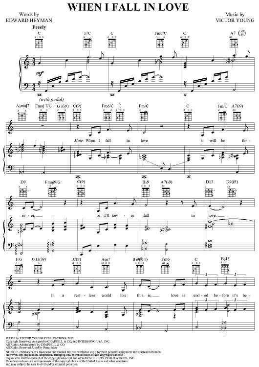 When I Fall In Love Sheet Music By Celine Dion