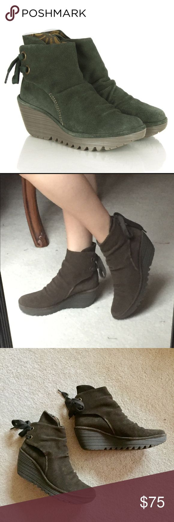NWOT Fly London Sludge Oil Suede Wedge Boots Brand new, in perfect condition! No flaws. Size 40. In an army green color, called sludge oil. Fly London Shoes Ankle Boots & Booties