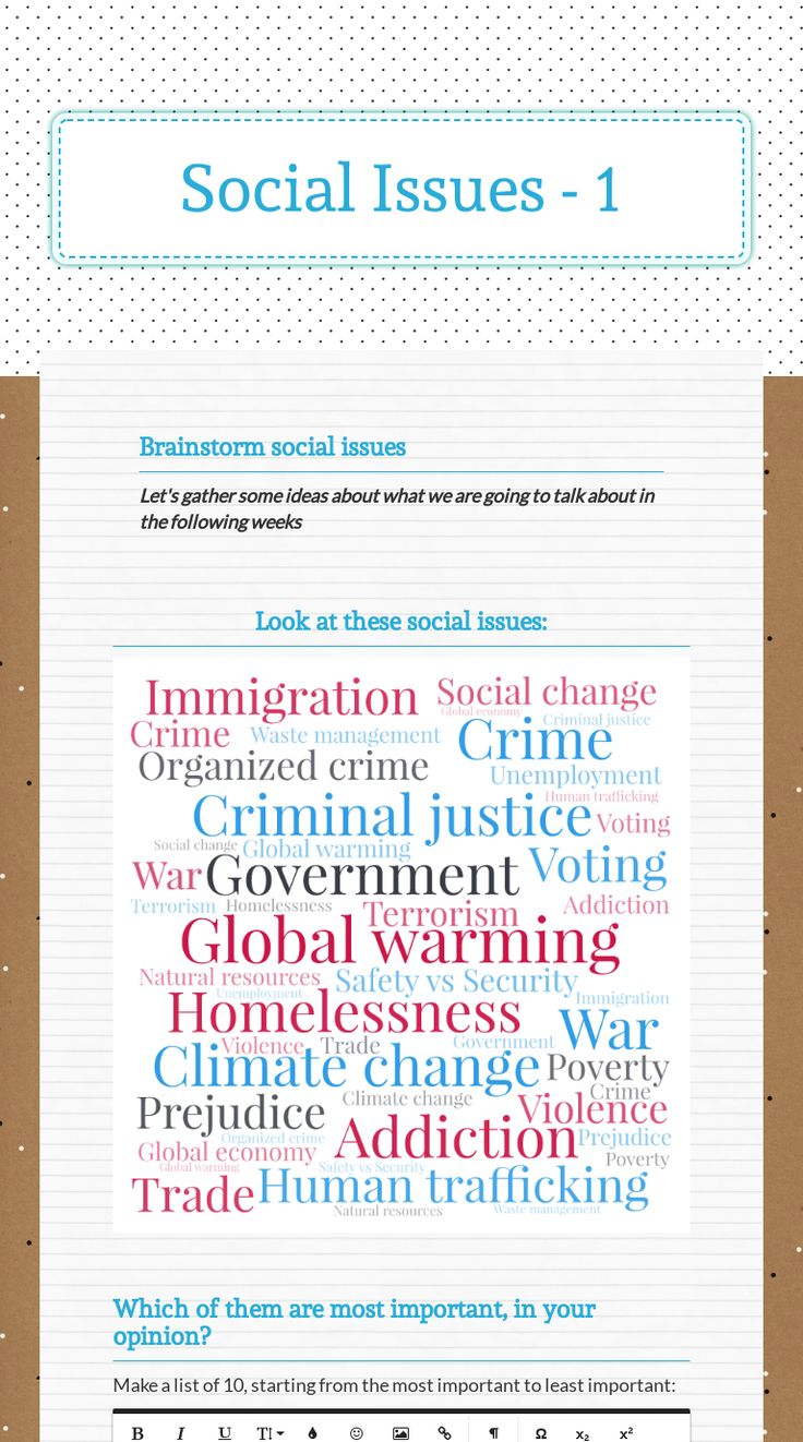 "Interactive worksheet ""Social Issues Brainstorming the"