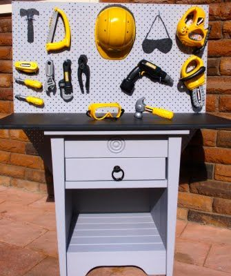 Giggleberry Creations!: Bedside Table Repurposed into Toy Tool Work Bench!!