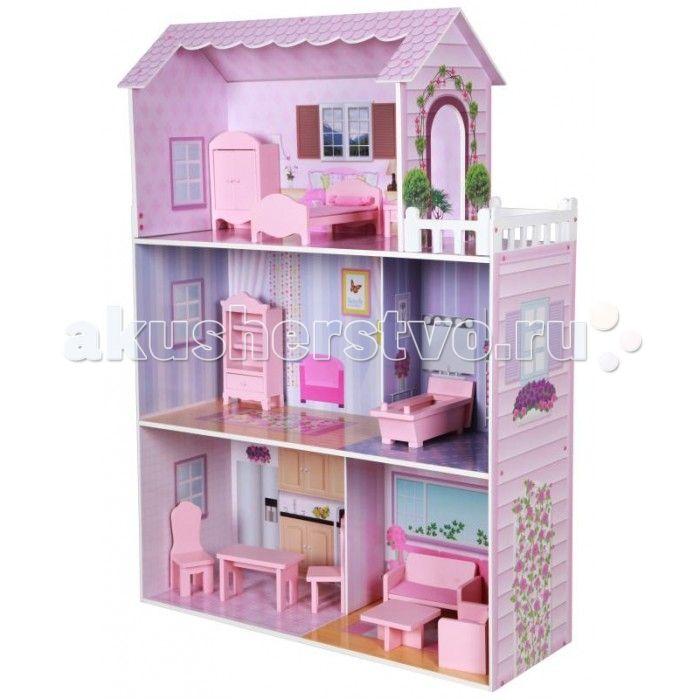 Kids4kids Кукольный домик с мебелью из дерева Волшебная сказка  Кукольный домик с мебелью из дерева Волшебная сказка  Большой загородный домик для куклы с деревянной мебелью ручной работы и открытыми интерьерами в розовых тонах. Просторный дом включает в себя 3 этажа, 5 комнат: спальню, ванную комнату, зал, кухню и комнату для отдыха.  Каждая кукла мечтает о своем загородном доме.  Просыпаться в  светлой спальне на мягкой кровати, прихорашиваться в обустроенной ванной комнате. Неспеша…