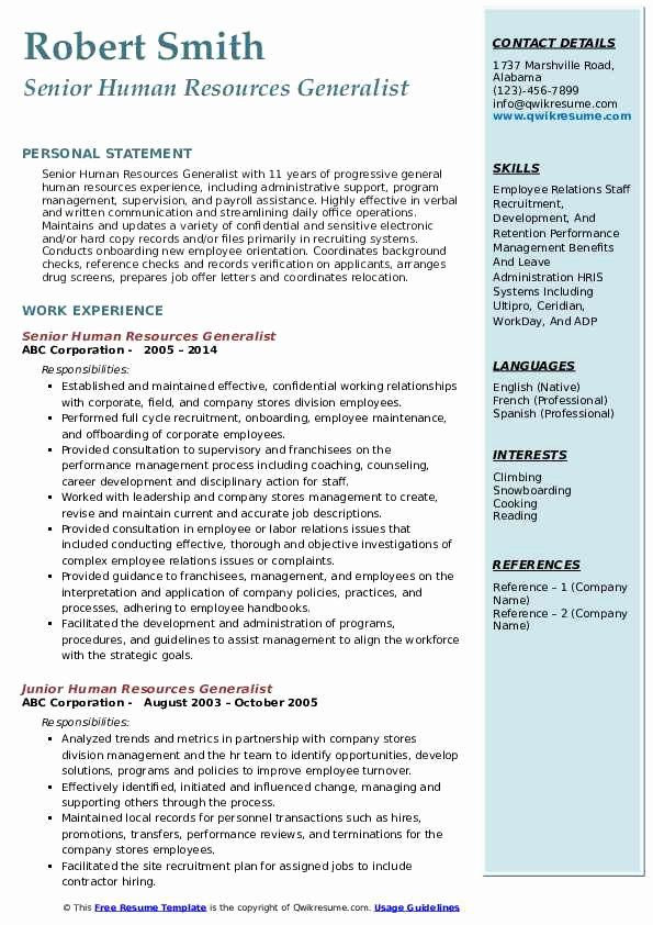 Human Resource Generalist Resume Inspirational Human Resources Generalist Resume Samples Job Resume Samples Job Resume Examples Human Resources Resume