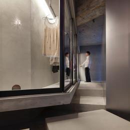 ドレスルームのあるコンクリートアパートメントの部屋 ドレスルーム