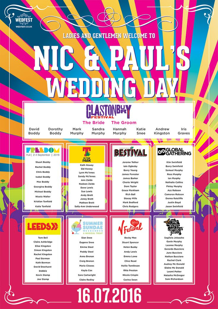 festival names wedding table chart http://www.wedfest.co/30-awesome-festival-concert-themed-wedding-table-plans/