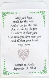 Wedding Seed Packet Favor with a Celtic, Irish theme. Personalized them and custom design them to fit your decor or theme. Choose your seeds and poem, help us design something special for you.