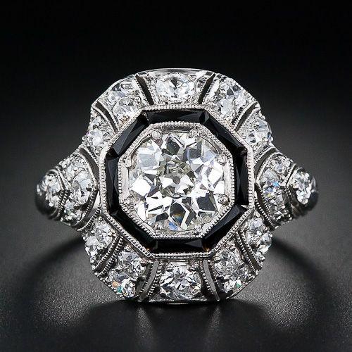 1.15 Carat Diamond and Onyx  Art Deco Diamond Ring