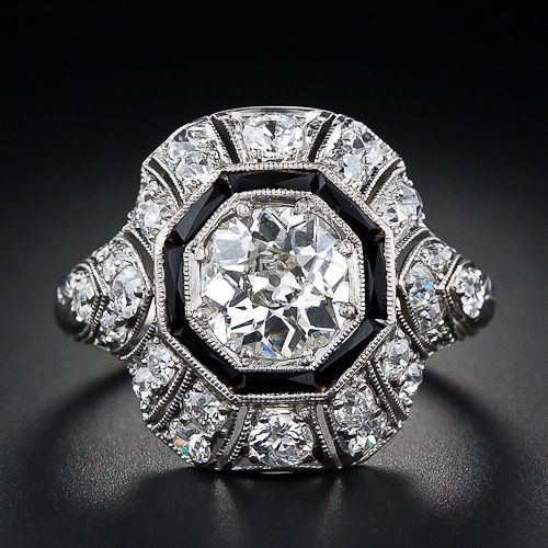 This with my other vintage onyx and diamond ring.....Pretty Please Daddy!!!  1.15 Carat Diamond and Onyx  Art Deco Diamond Ring