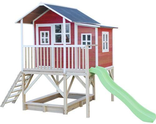 Trend Stelzenhaus EXIT Loft Holz mit Sandkasten Rutsche rot