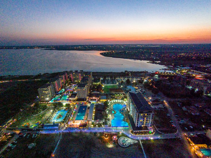 Drone view, Phoenicia Holiday Resort and Luxury overview, sunset, lights, panoramic view, pools,  - North Mamaia, Constanta, Romania