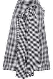 Asymmetric gathered gingham cotton midi skirt