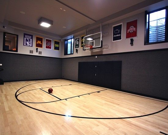 Indoor basketball court favorite places spaces for Basketball court inside house