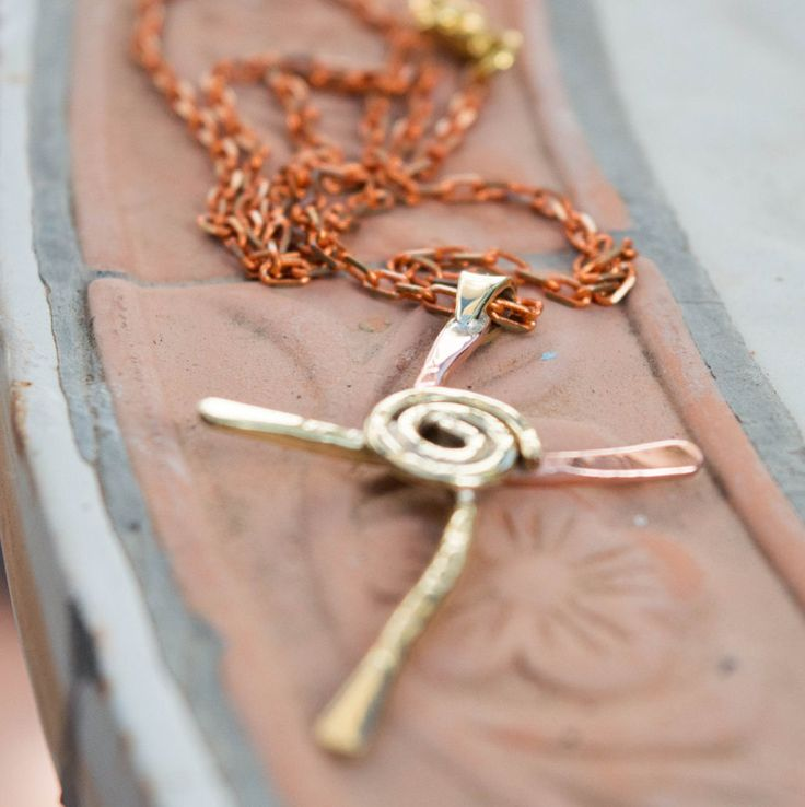 Cross necklase, Mixed metal cross, Brass and copper cross, Brass cross, Copper cross, Wire cross, Artisan cross, Hammered Brass Cross