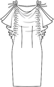 Платье с цельнокроеными рукавами - выкройка № 119 С из журнала 11/2015 Burda – выкройки платьев на Burdastyle.ru