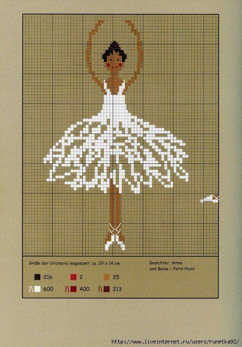 Вышивание крестиком, схемы балерин