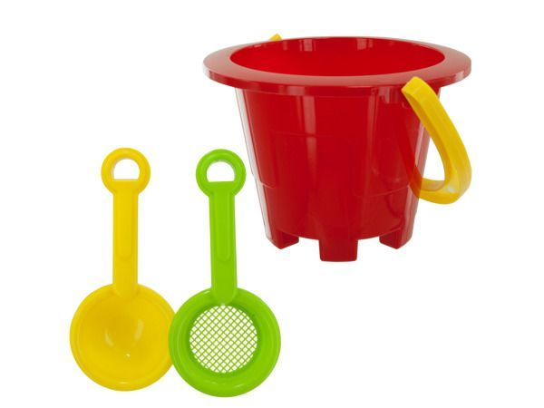 Beach Pail Fun Set, 96 - A day at the beach is not complete without a beach pail! Kids will have tons of fun with this 3-piece molded Beach Pail Set, easily turning sand into creative castles. Set includes 1 pail and 1 scooper and 1 sifter or 1 shovel and 1 funnel. Comes in assorted styles. Comes packaged together with a hang tag.-Colors: yellow,green,blue,red,orange. Material: plastic. Weight: 0.4375/unit