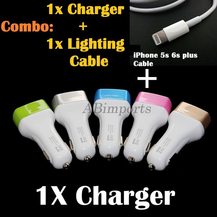 iPhone 5c 5S 6 6S Plus Car Charger and Cable 3.4A Adapter 3 Port iPad 4 Air Mini