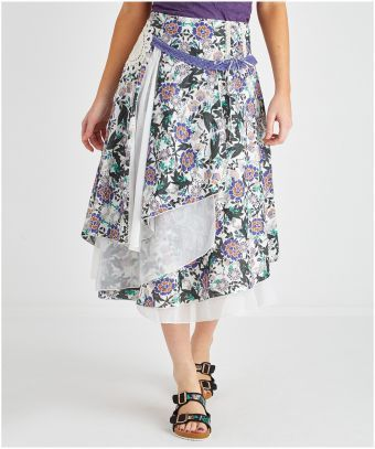 """You can't help but do a twirl in a skirt like this. Every girl needs a 'Wear In The Wind Skirt', with a stunning dipped hem and mix and match fabrics this is an absolutely gorgeous piece. Approx Length: 78cm (at longest point) Our model is: 5'8"""""""