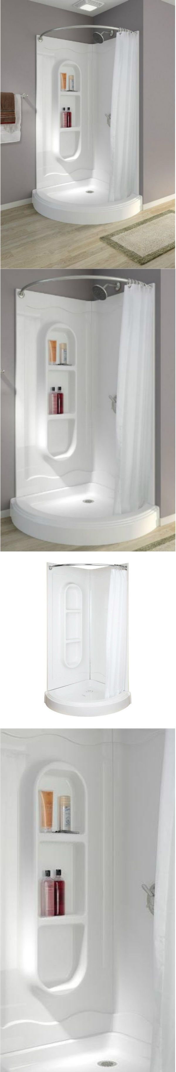 Shower Enclosures and Doors 121850: Corner Shower Stalls Kits Walk In One Piece Curtain Rod Bathroom White Curved -> BUY IT NOW ONLY: $524.98 on eBay!