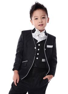 Black Boy's Suit Bow Tie Buttons Cotton Blend Polyester Suit