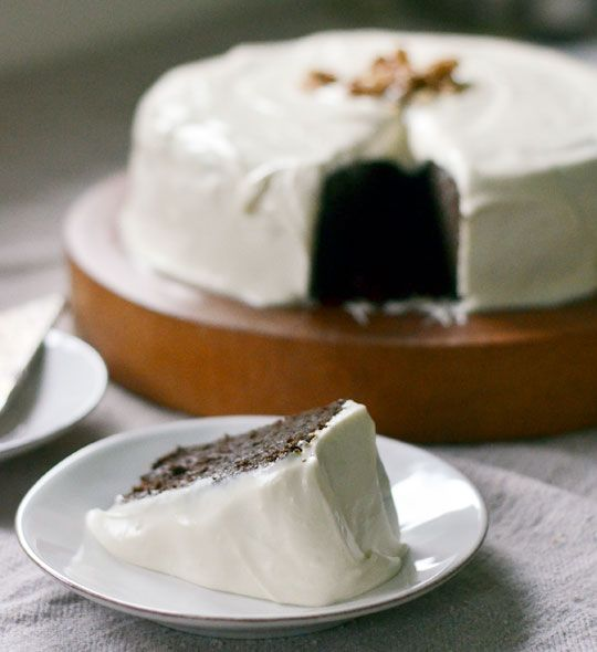 molasses cake with cream cheese frosting.