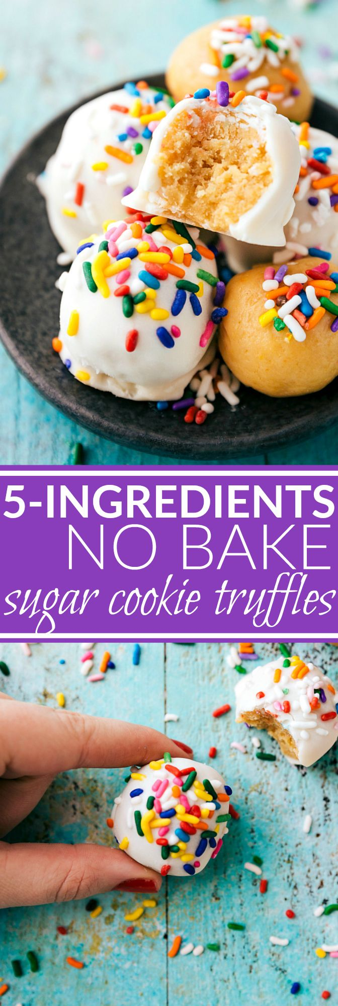 Simple sugar cookie truffles without raw eggs or flour that require no baking and come together in 15 minutes or less! Only FIVE ingredients! via chelseasmessyapron.com