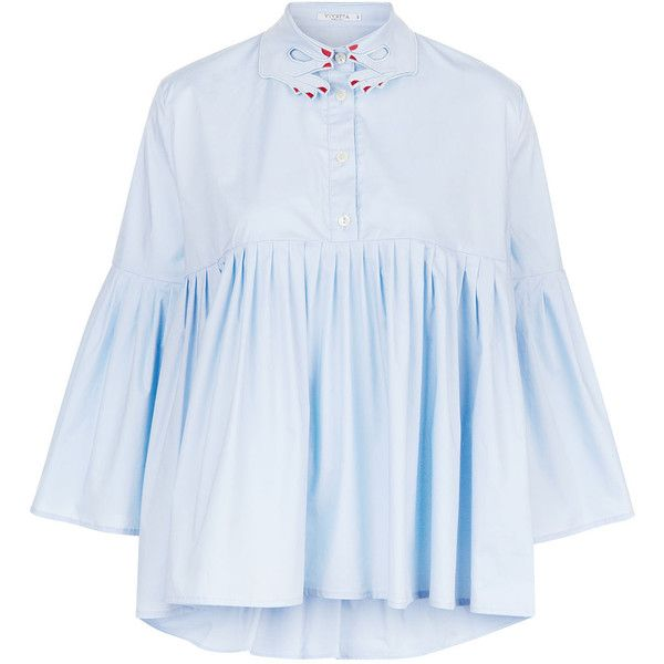 Vivetta Blue Cotton Bell Sleeve Blouse (£260) ❤ liked on Polyvore featuring tops, blouses, shirt blouse, blue crop top, blue cotton shirt, crop shirts and pleated shirt