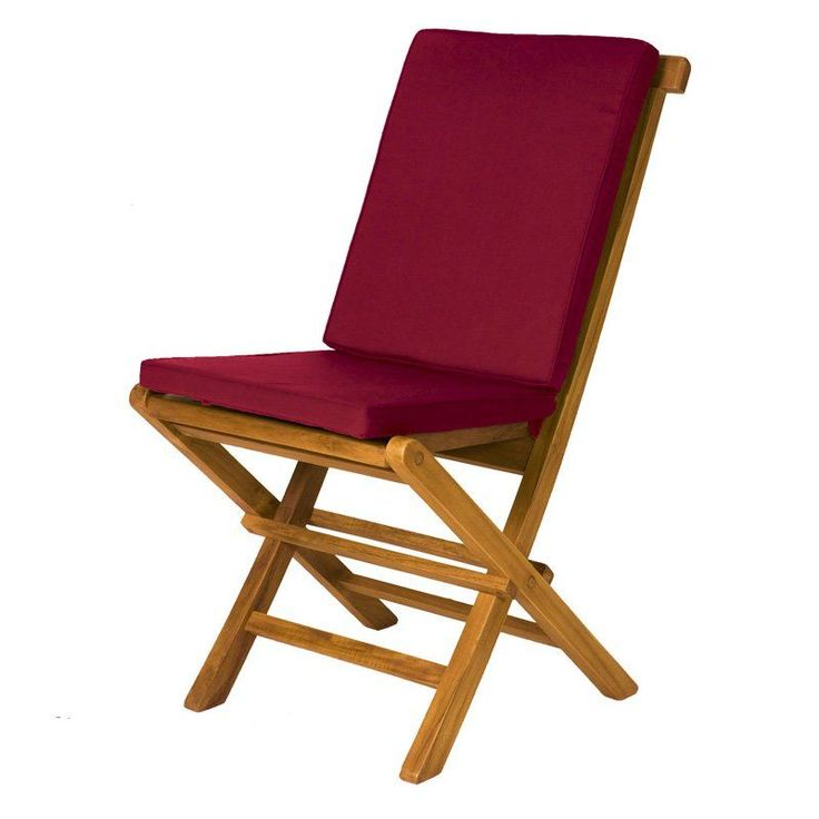All Things Cedar 2 Piece Hinged Seat and Back Folding Chair Outdoor Cushions Set Maroon - TC19MAROON-2