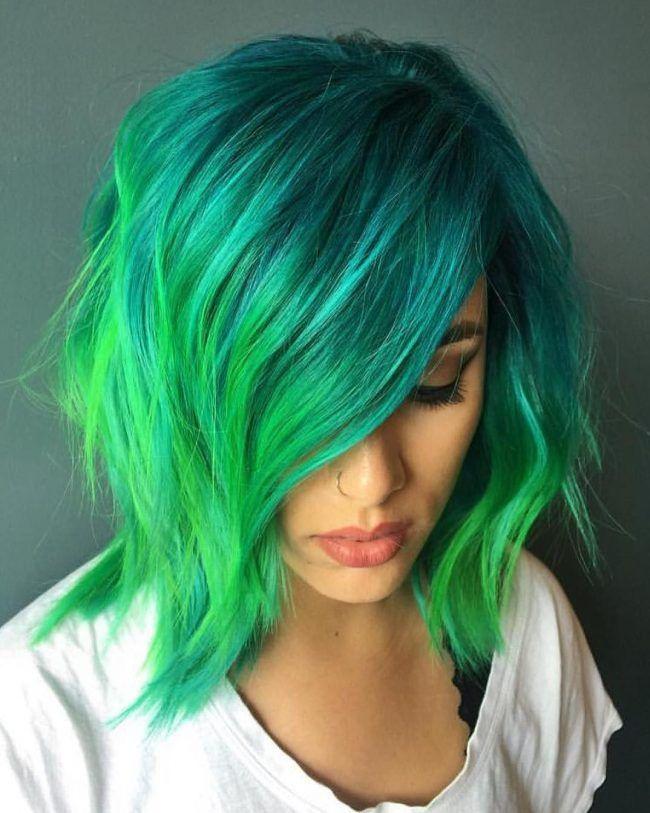 Окрашивание волос в зеленый цвет